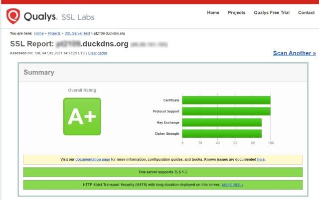SSL Labs TSL test resultaat