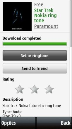 Download de ringtone na Ovi Store