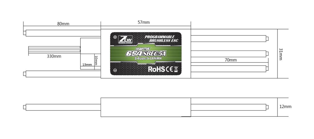 Mantis 65A SBEC_RC Brushless ESC,RC ESC,Shenzhen ZTW Model