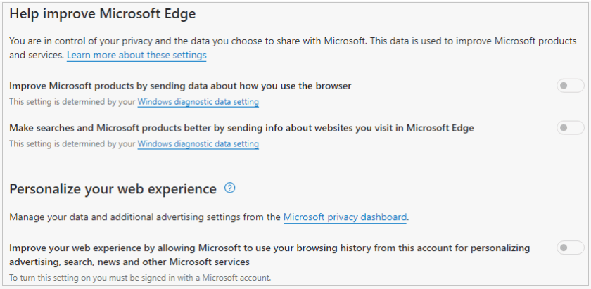 Edge privacy settings