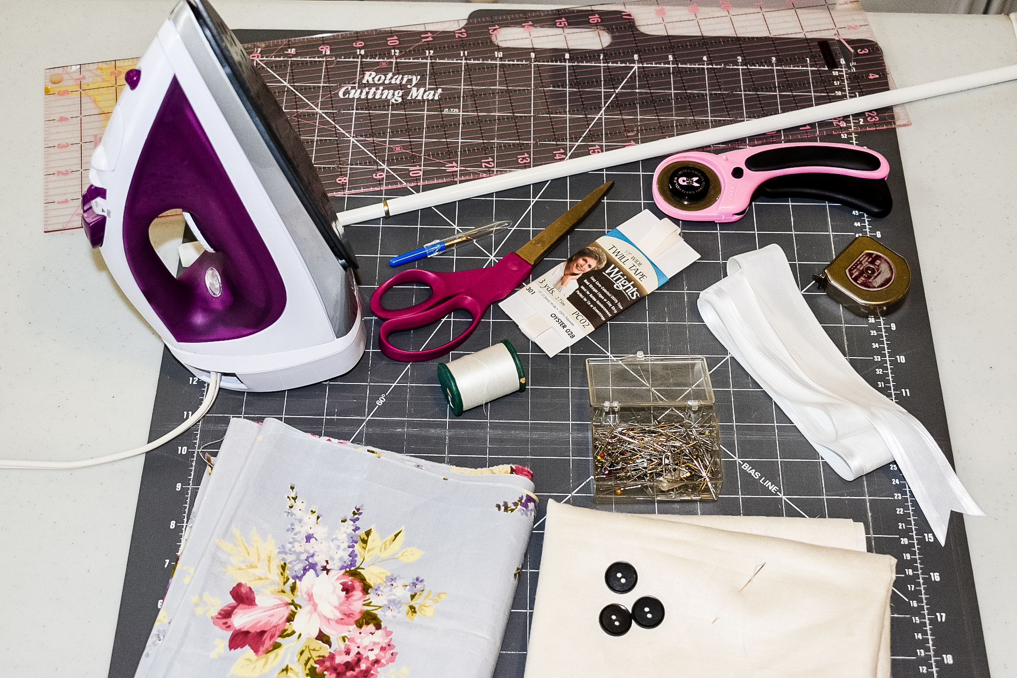 fabric, notions and tools needed to make diy button up shades