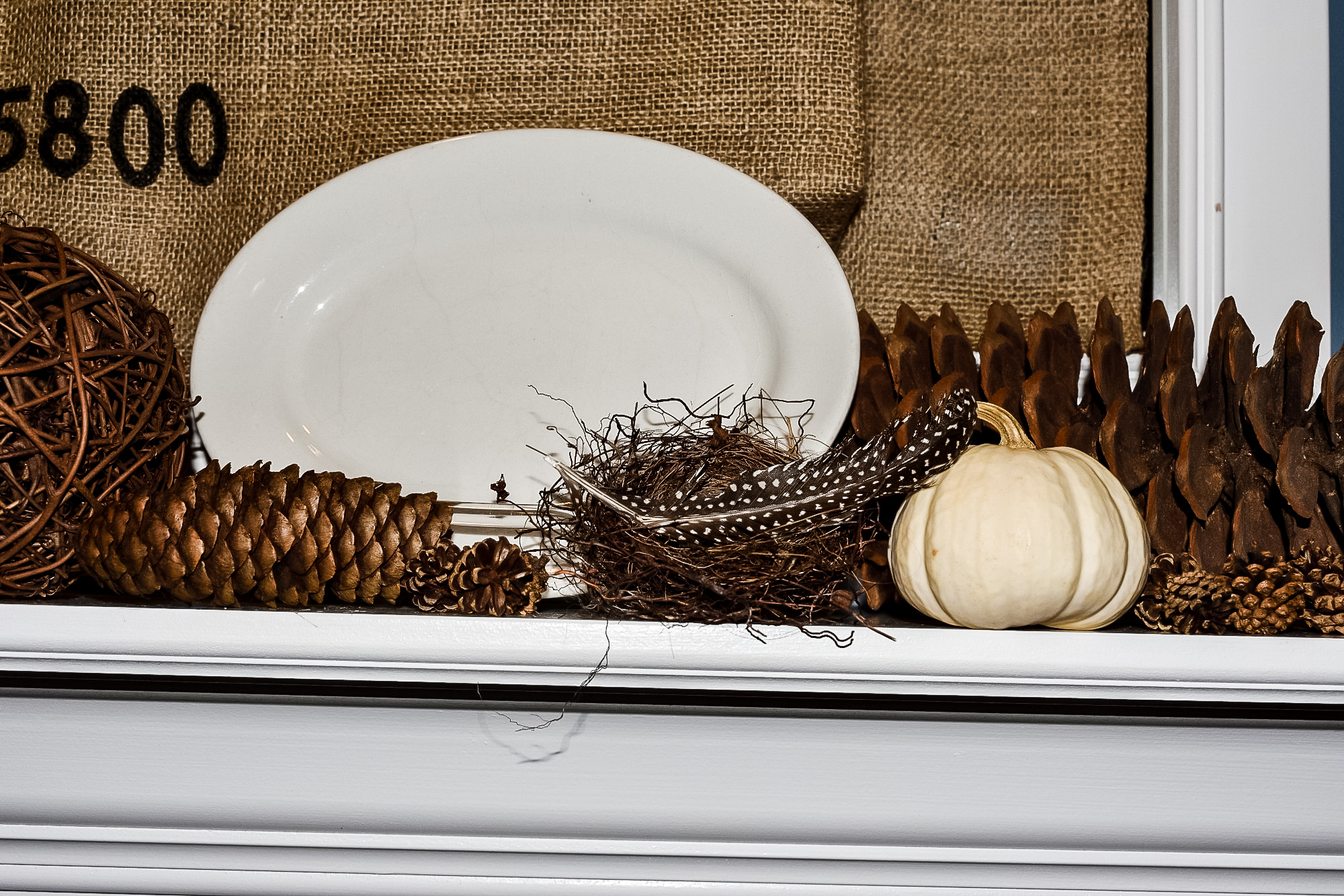 ironstone platter with pinecones, white pumpkins and a bird's nest on a mantel