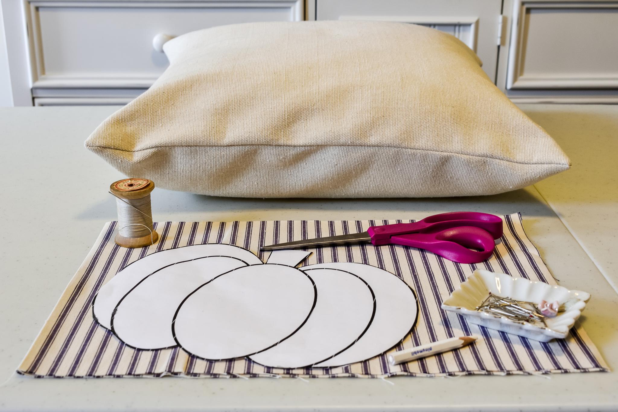 supplies needed to make a neutral fall pumpkin pillow