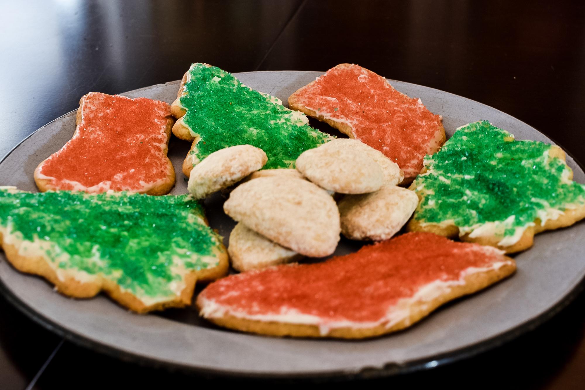 Christmas cookies on an enamelware plate