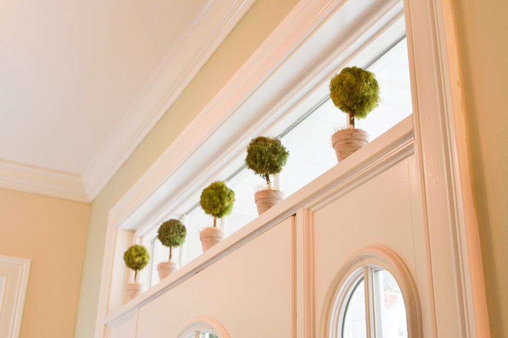 diy moss topiary trees above a front entry door