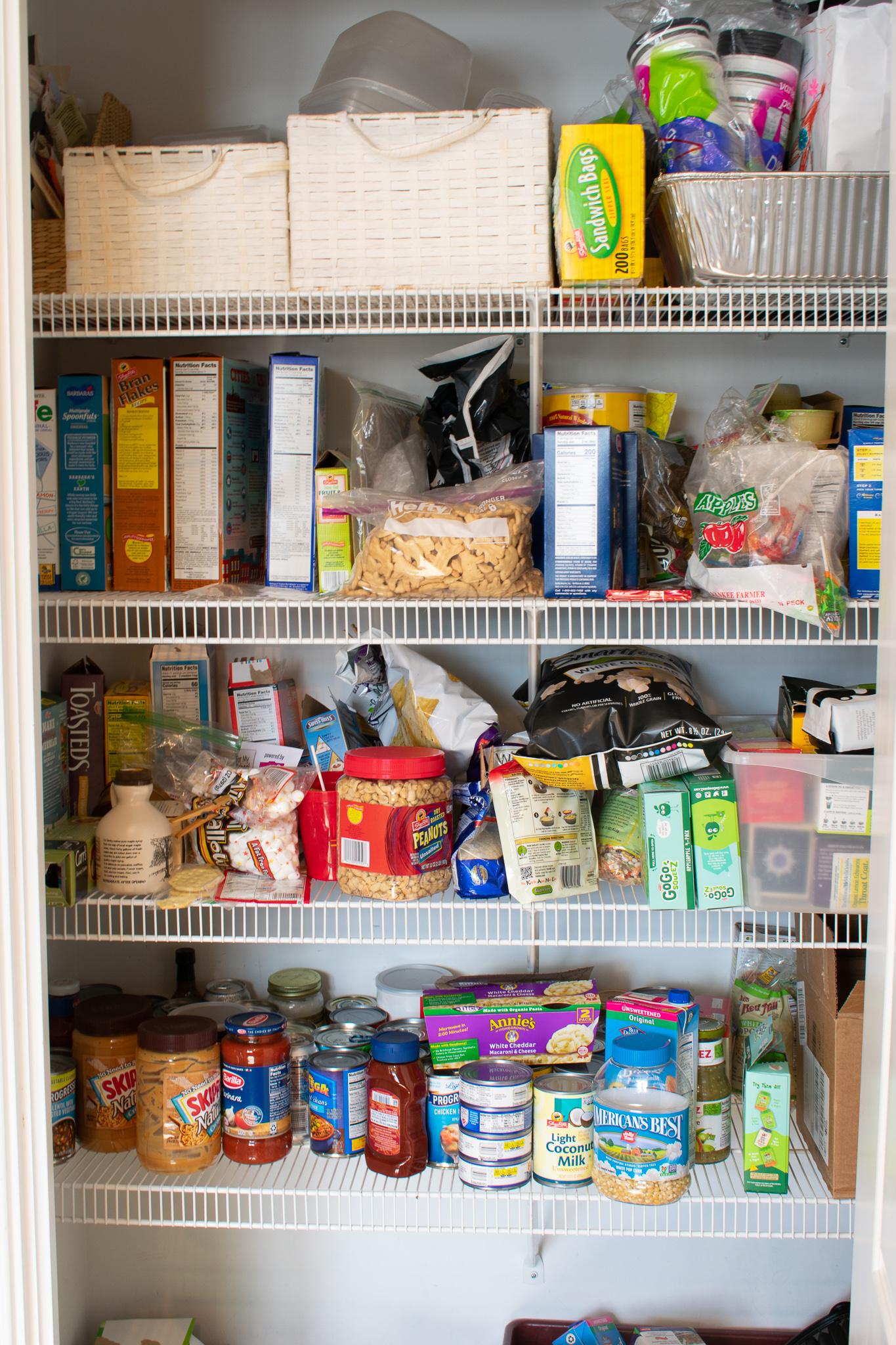 disorganized pantry shelves
