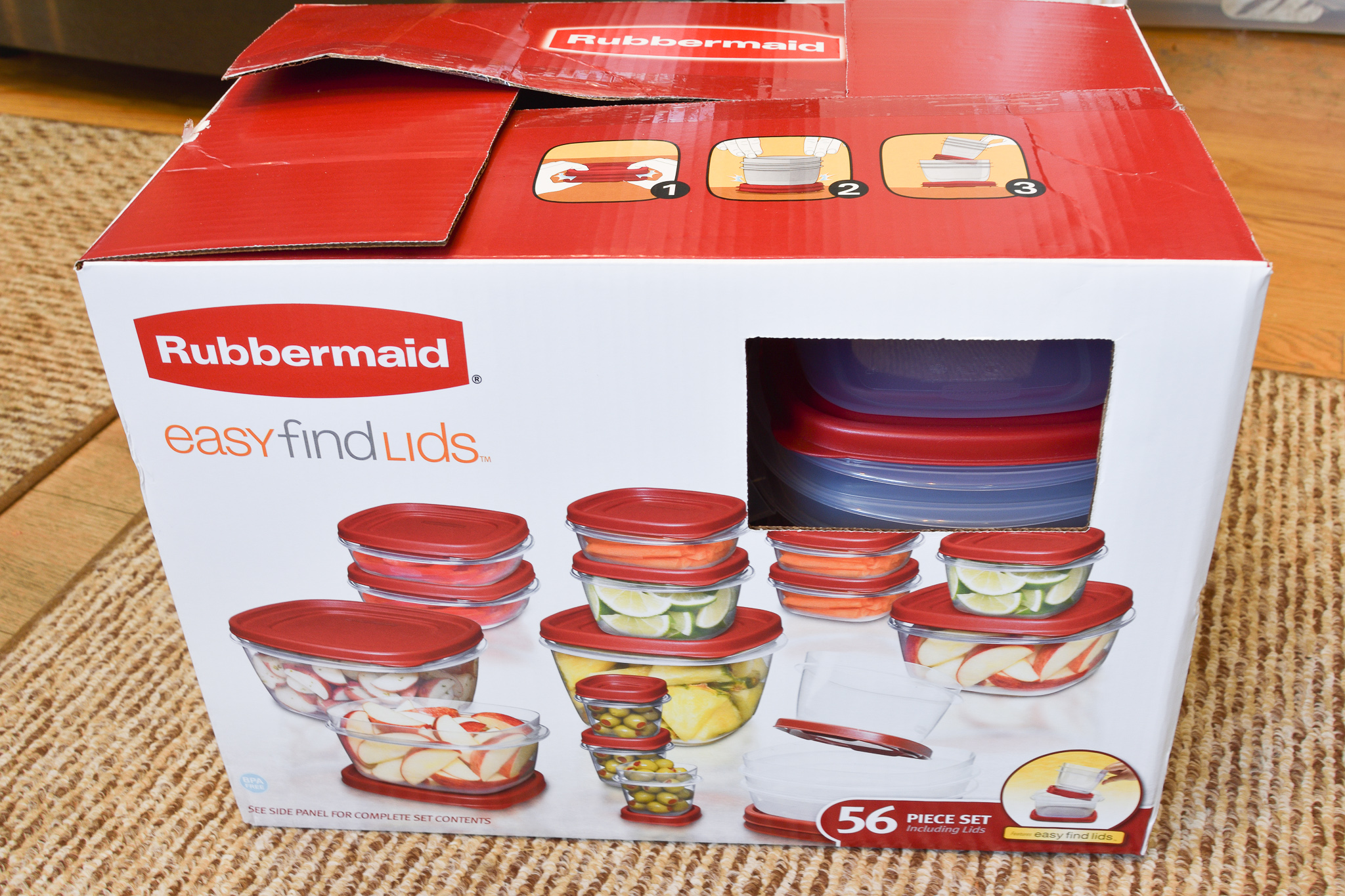 box of new Rubbermaid food storage containers