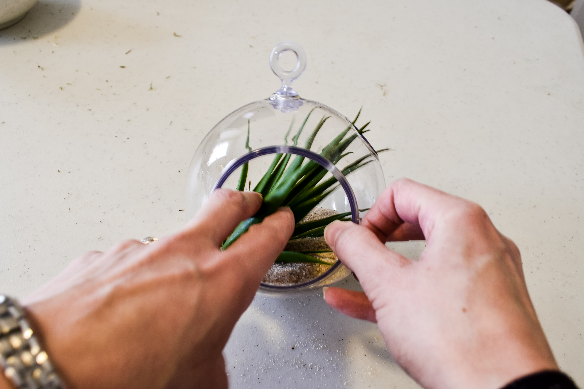 placing a faux succulent inside a round hanging terrarium filled with sand