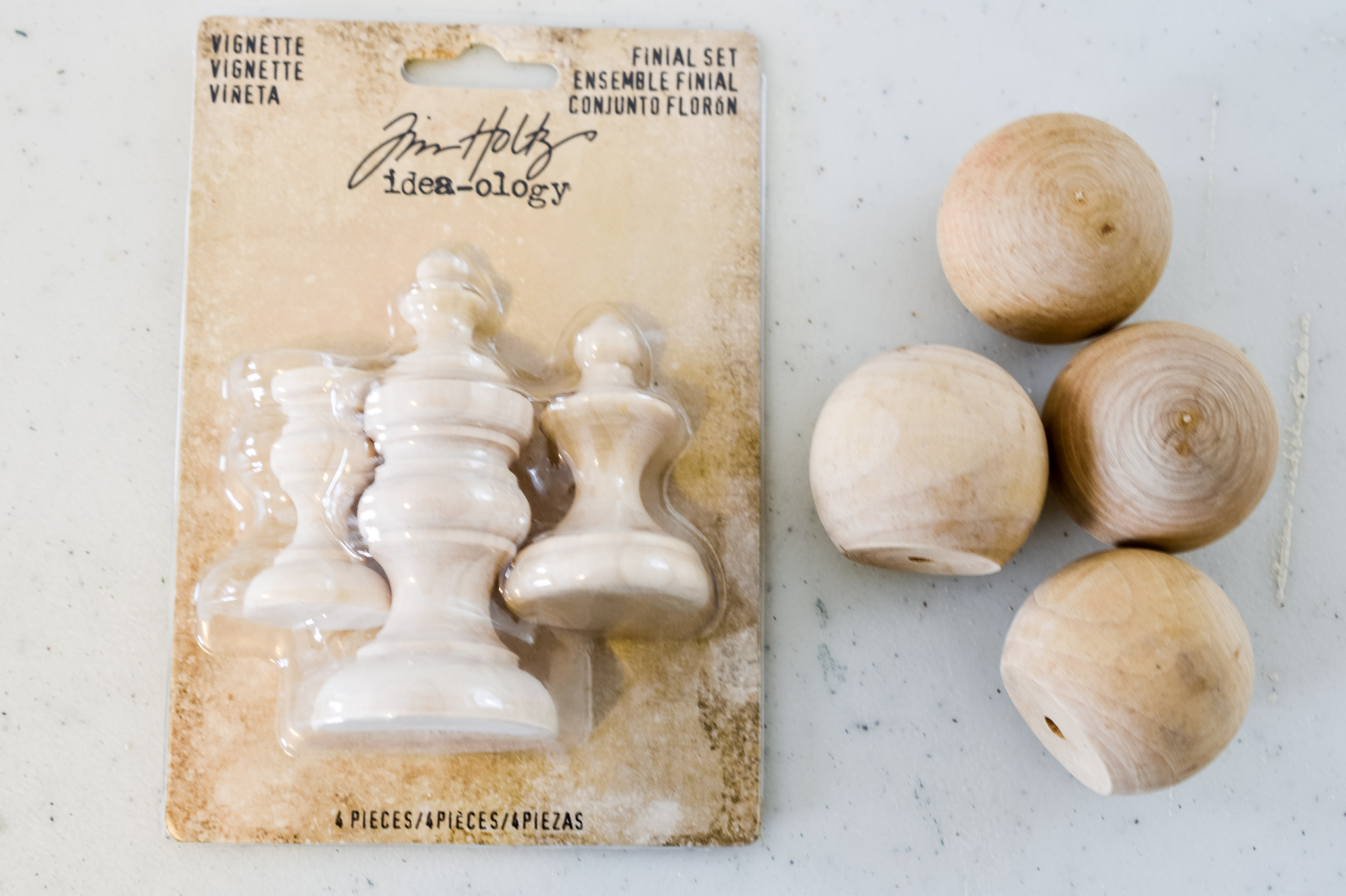 wooden knobs and finials
