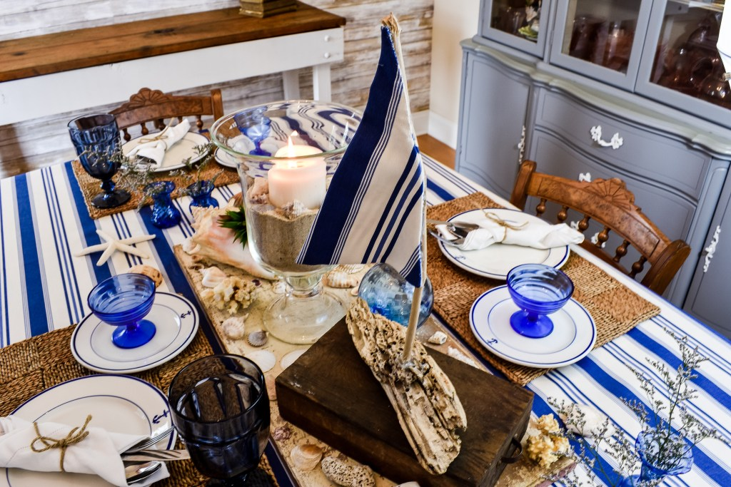 Blue and White Nautical Summer Tablescape