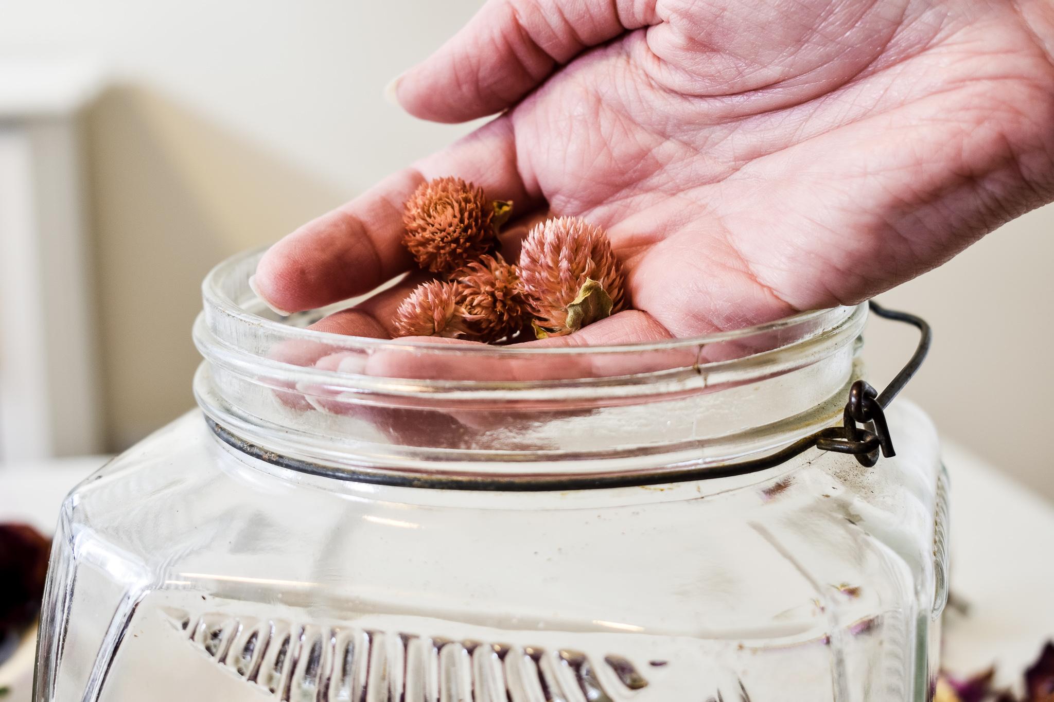 putting dried amaranth into a glass jar