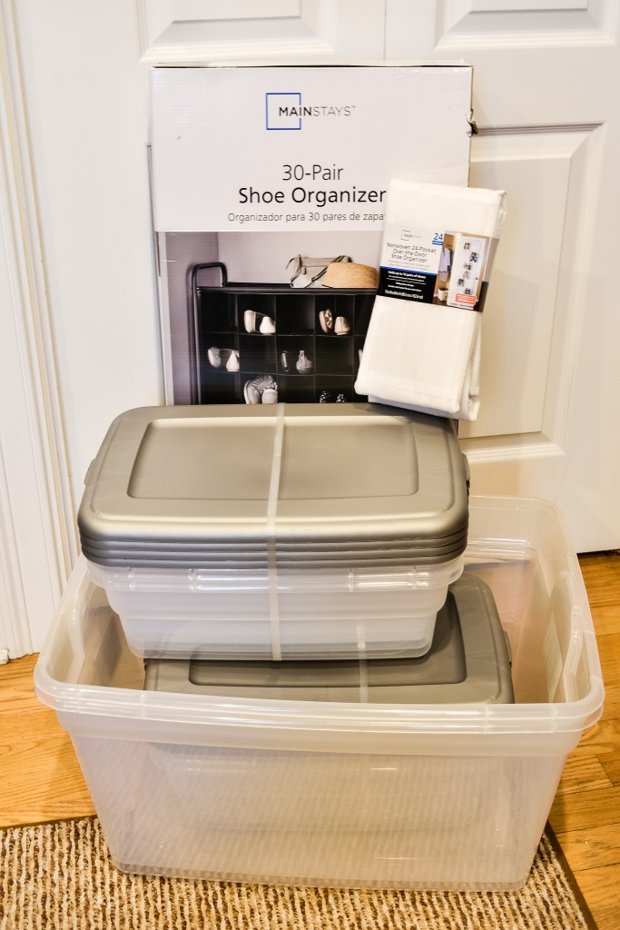 storage bins and shoe organizers purchased from Walmart to organize a craft room