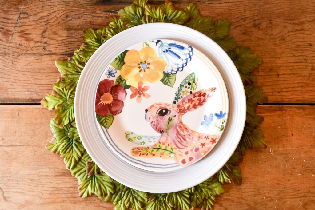 bunny plate atop a DIY leaf placemat