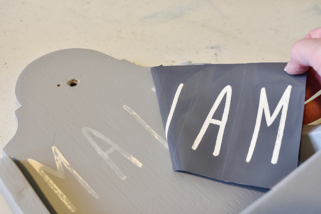 removing stencils from an upcycled mail holder