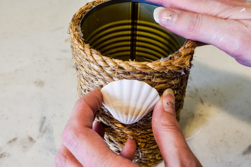putting a shell on a nautical rope diy tin can decor craft project