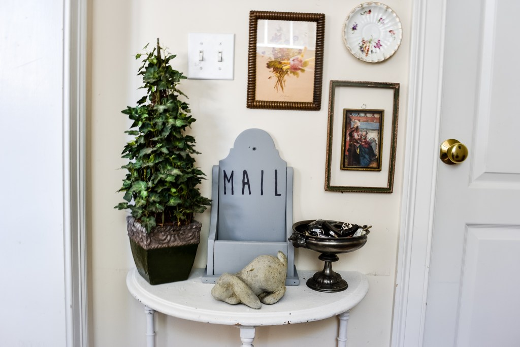 small family command center wall with a diy chalk painted mail holder