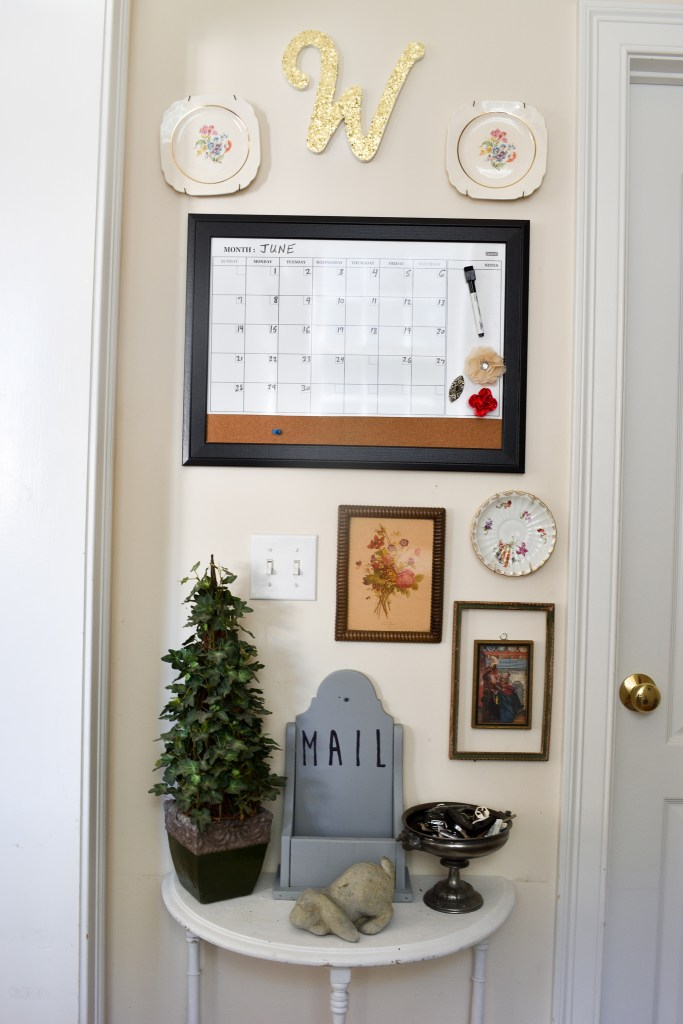 gallery wall style small family command center wall