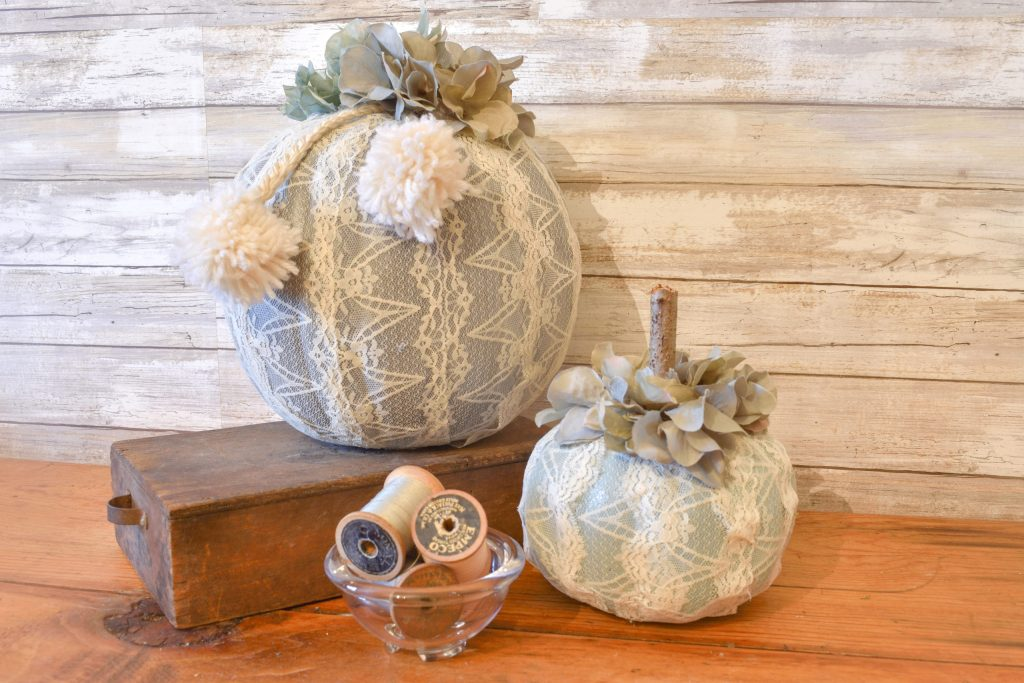 Dollar Tree DIY Fall pumpkin makeover with lace