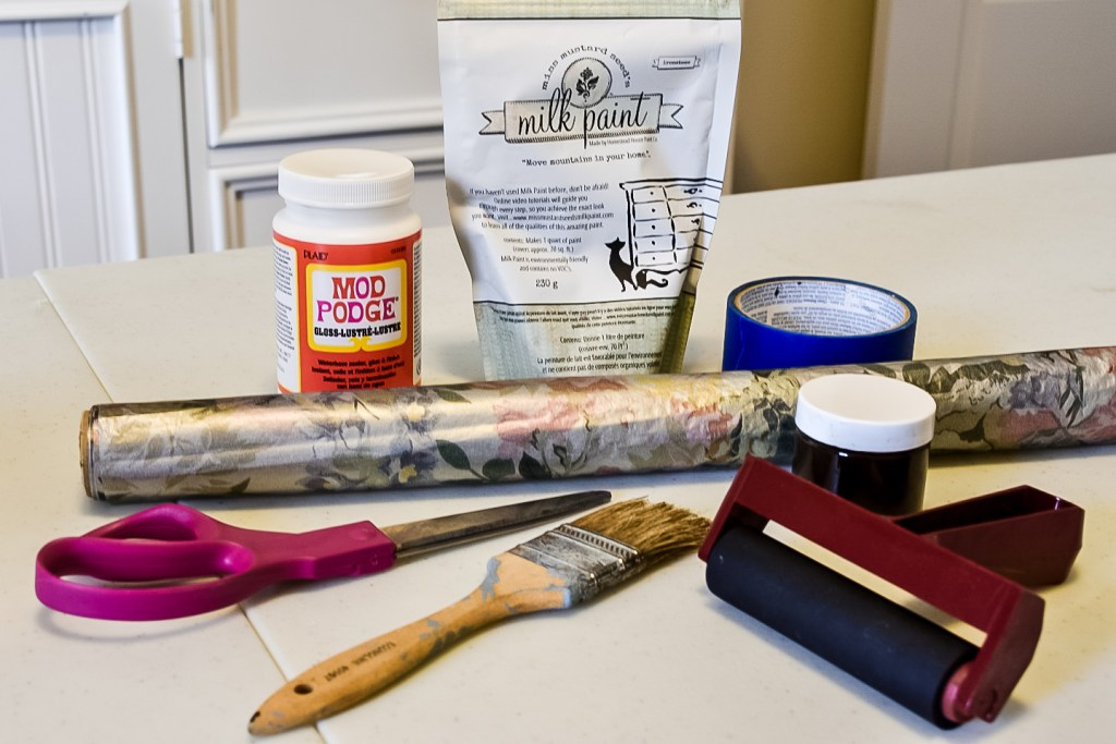 mod podge, milk paint, wrapping paper, painter's tape, stain, scissors and paintbrush