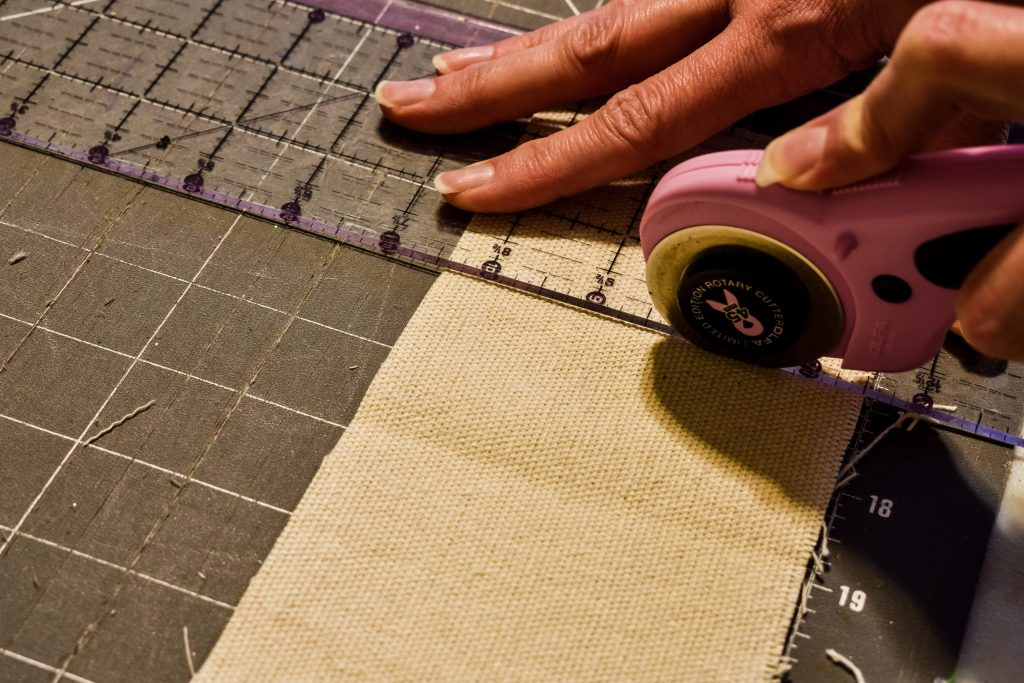 cutting drop cloth fabric with a rotary cutter