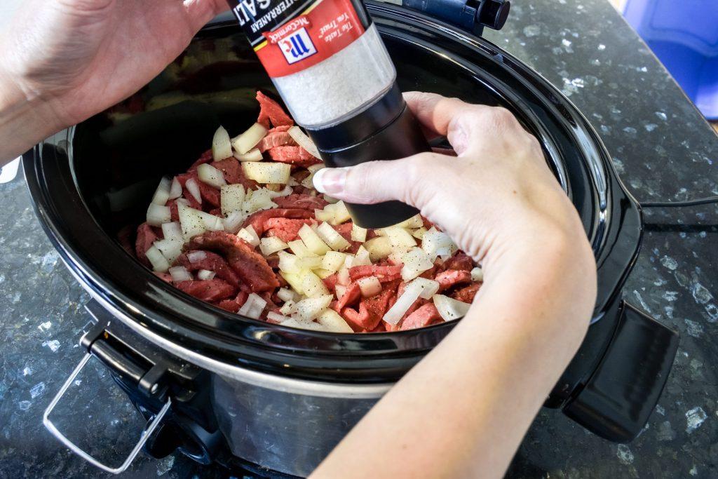 seasoning crock pot beef stroganoff with salt