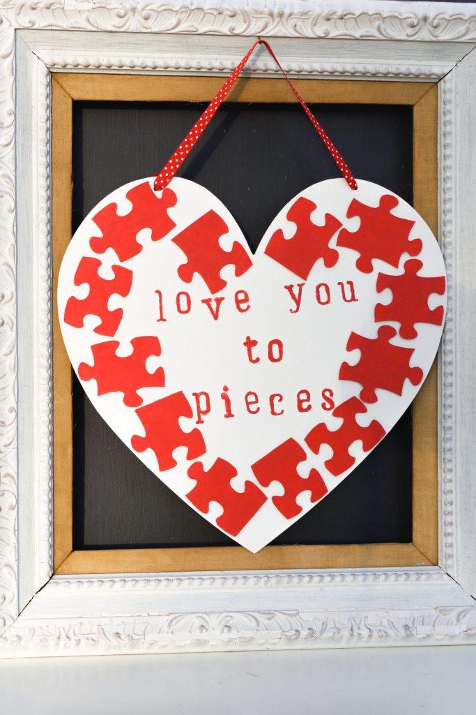 dollar tree valentine's diy puzzle piece heart craft wall hanger