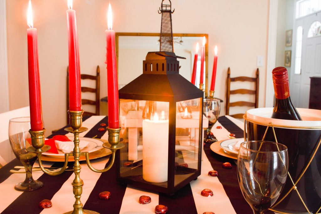 Valentine's Day in Paris tablescape with a black, white and red color scheme.
