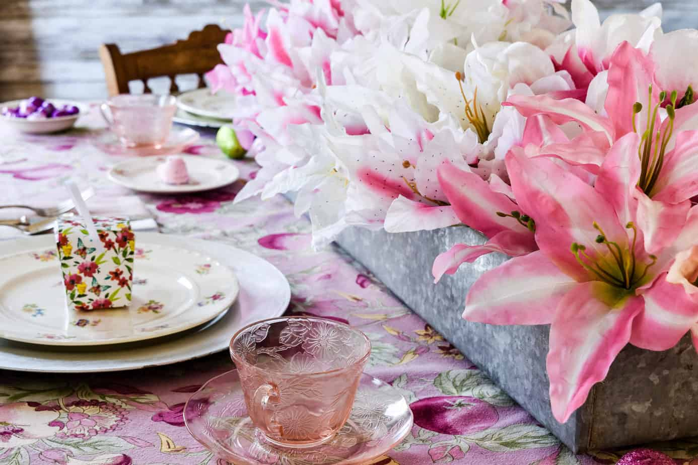 Pretty in Pink Easter Tablescape with a centerpiece of Dollar Tree lilies