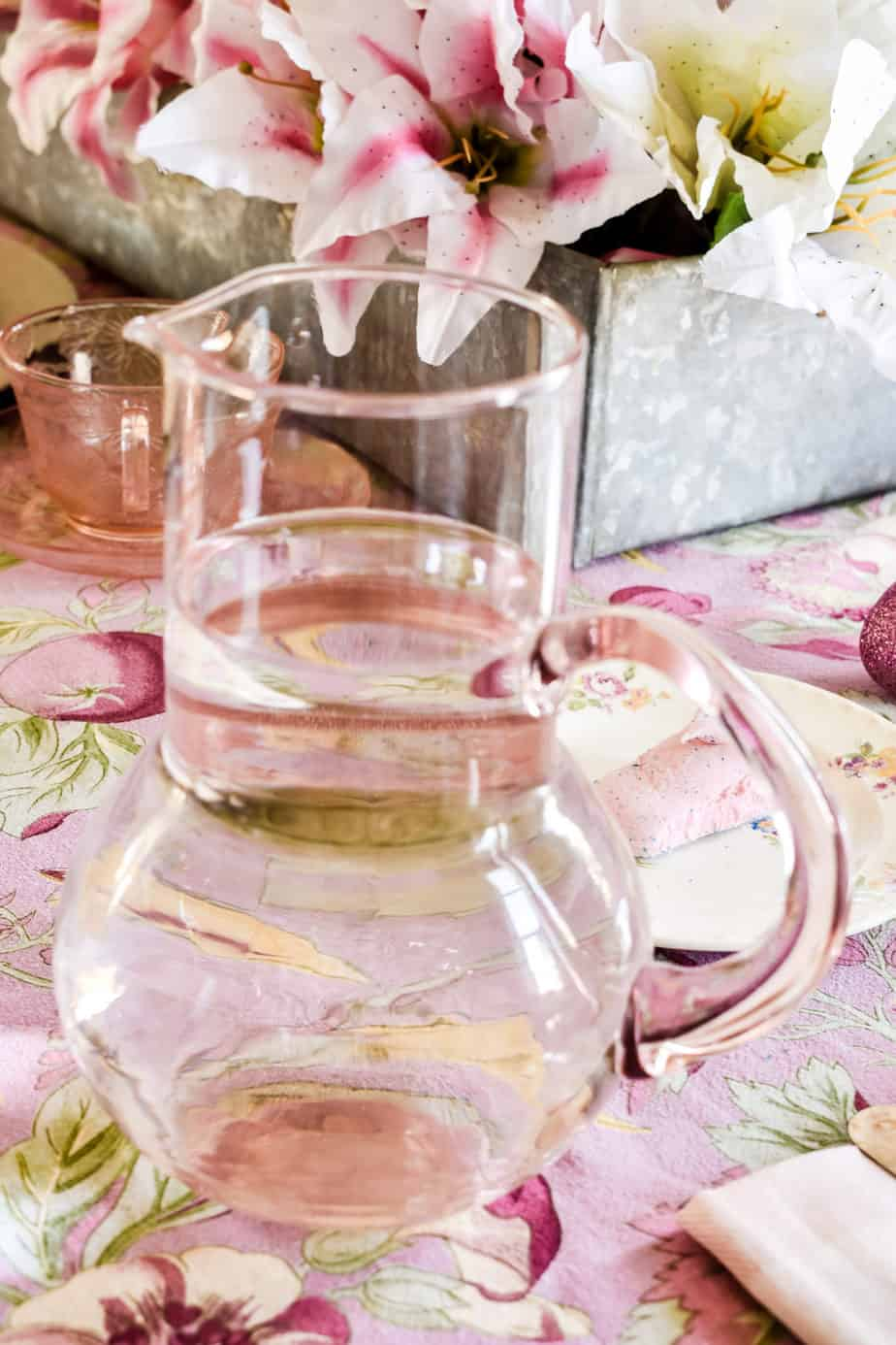pink glass water pitcher