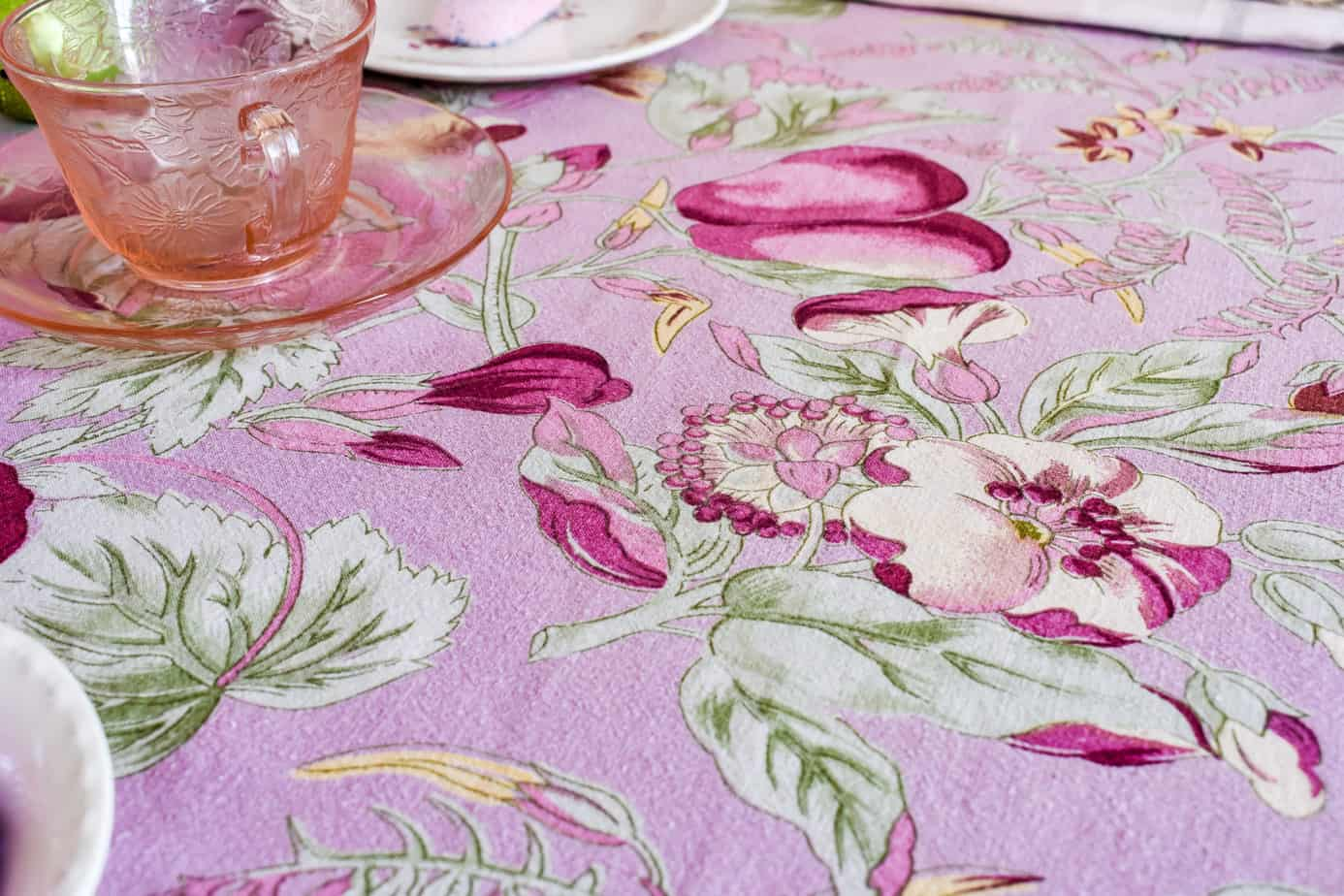 pink floral April Cornell tablecloth