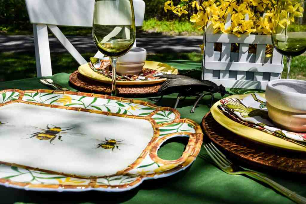 melamine tray with a bee and bamboo motif on a bee themed tablescape