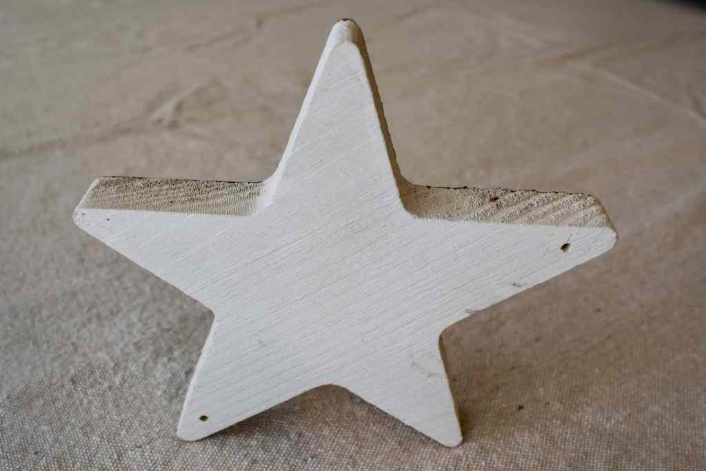 white painted wooden star
