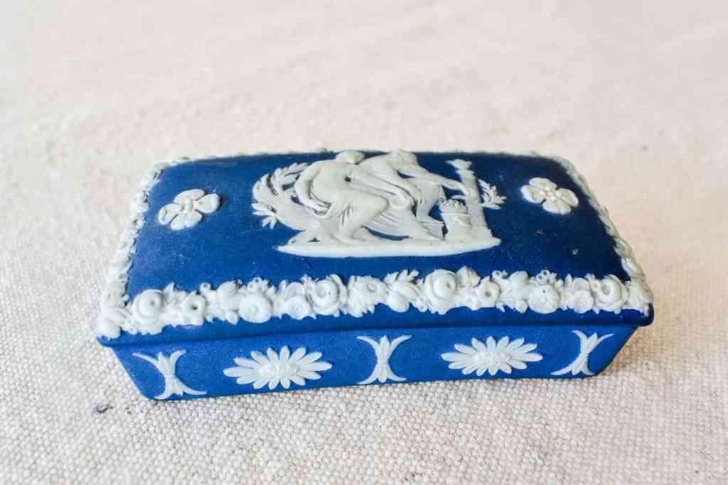 blue and white Wedgwood trinket box