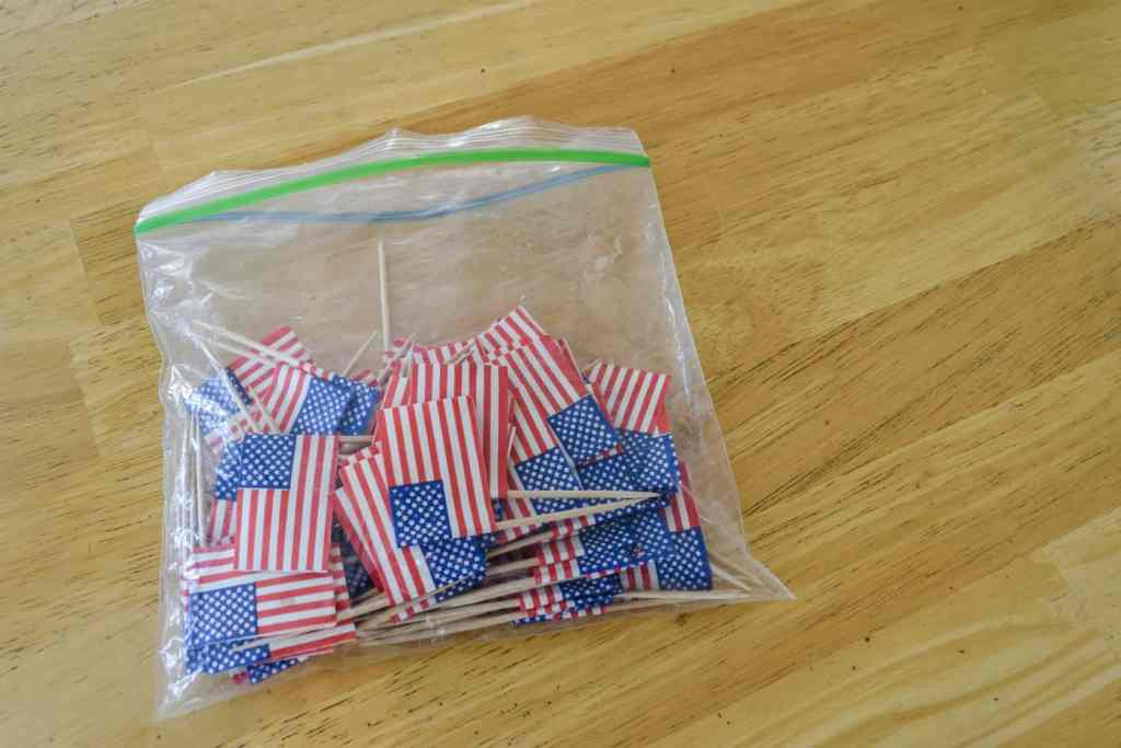 bag of mini paper American flags