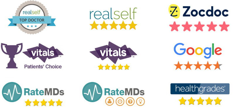 Dr. Zuckerman receives near five star ratings across all major patient review sites including RealSelf (and is a TopDoctor), ZocDoc, Google, RateMDs, Healthgrades, Vitals.com.