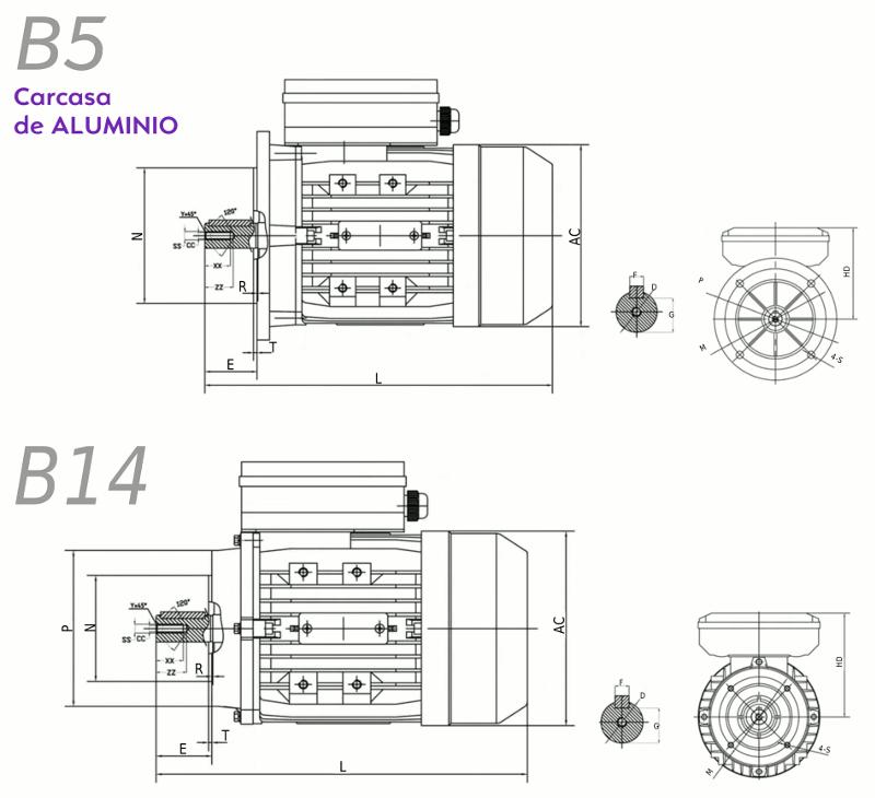 Motor eléctrico monofásico 220V 0,09 kw / 0,12 cv con