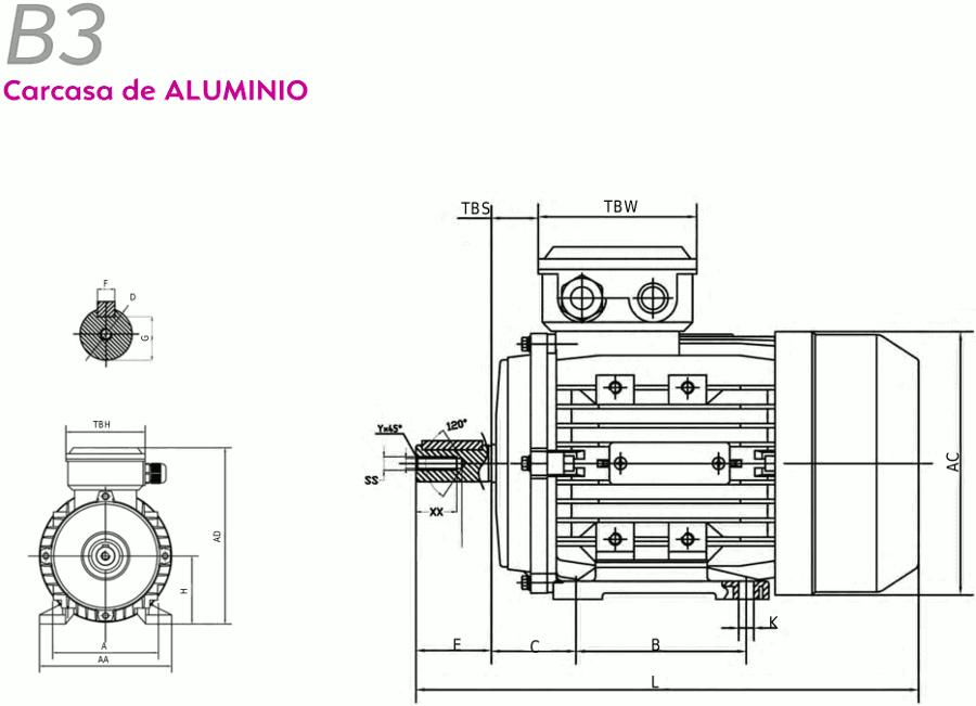 Motor eléctrico trifásico 220 / 380V patas B3 11 KW / 15