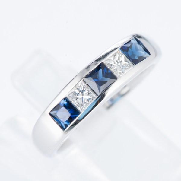 ライン サファイアxダイヤモンド プラチナリング S: 0.83 ct D: 0.3ct Pt900