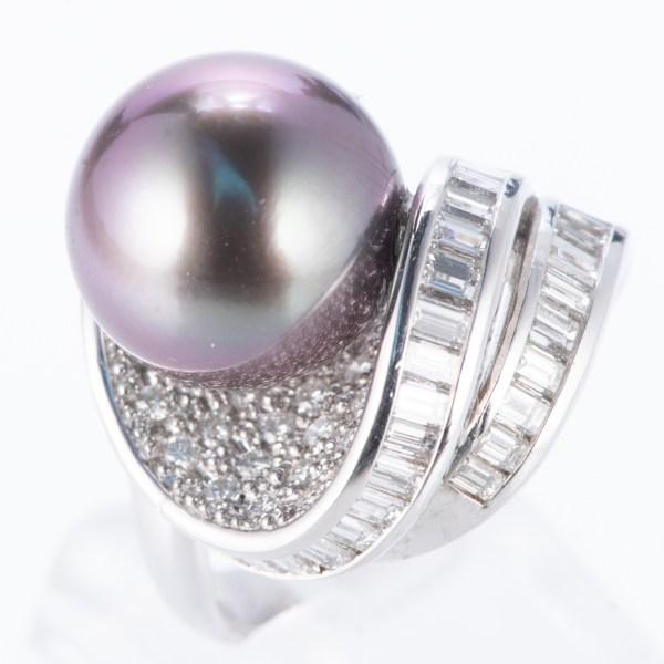 タヒチパールxダイヤモンド プラチナリング P: 12.5mm D: 1.58ct Pt900
