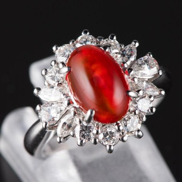 ハロー メキシコオパールxダイヤモンド プラチナリング MO: 1.87 ct D: 1.03ct Pt900