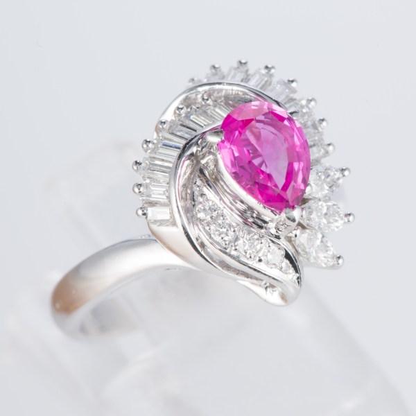 ピンクサファイアxダイヤモンド プラチナリング PS: 0.88 ct D: 0.65ct Pt900