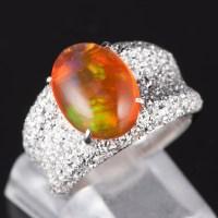 パヴェ メキシコオパールxダイヤモンド プラチナリング MO: 3.37 ct D: 1.05ct Pt900