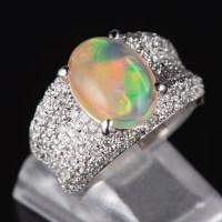 パヴェ メキシコオパールxダイヤモンド プラチナリング MO: 2.92 ct D: 0.92ct Pt900