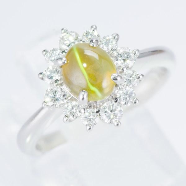ハロー キャッツアイxダイヤモンド プラチナリング C: 1.56 ct D: 0.5ct Pt900