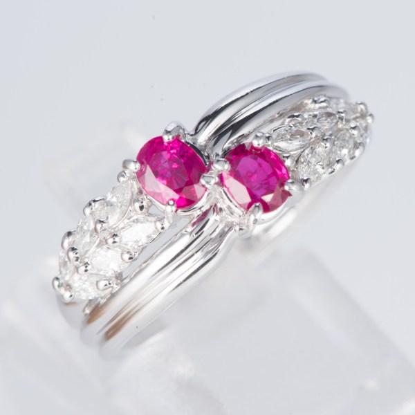 ルビーxダイヤモンド プラチナリング R: 0.7 ct D: 0.35ct Pt900