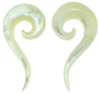 Mother of Pearl Question Mark Spiral Earrings, 18 gauge ...