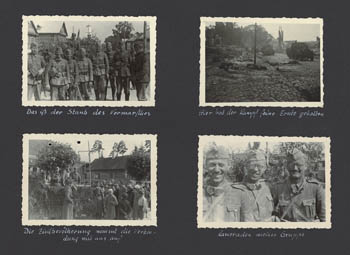 Albumseite aus dem Fotoalbum von Friedrich Bilges während des Vormarschs in der Sowjetunion 1941 (zwischen Wjasma und Moskau); Privatbesitz Dr. Hartmut Bilges, Isernhagen