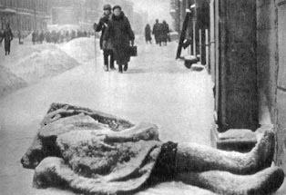 Opfer von Hunger und Kälte in der belagerten Stadt