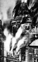 Brennende Berliner Synagoge