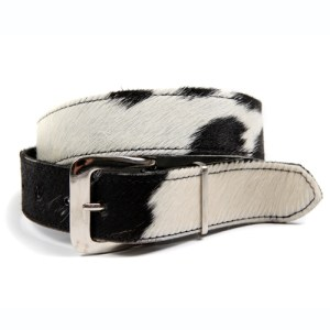 Zulucow Nguni cowhide leather belt black and white belt buckle cowhide accessories womenswear fashion